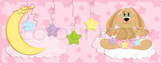 Baby's banner or postcard with rabbit in pink colors
