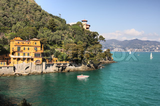 View on Portofino - small town on Ligurian sea in northern Italy.