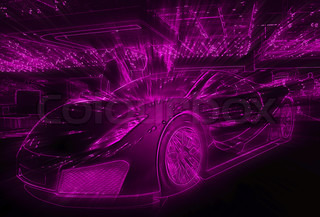 Pink neon light drawing of the sport car