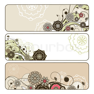 abstract cute horizontal floral banners vector illustration