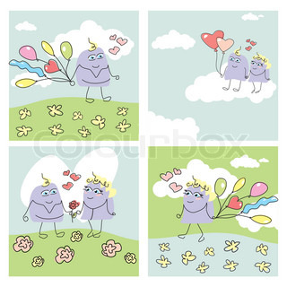 set of funny valentine cards vector illustration