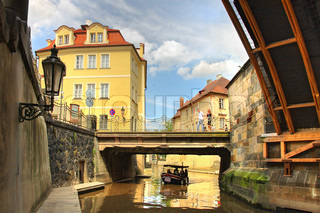 View on old Prague and city canal