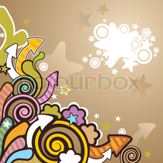 abstract colorful cartoon background with arrows and stars