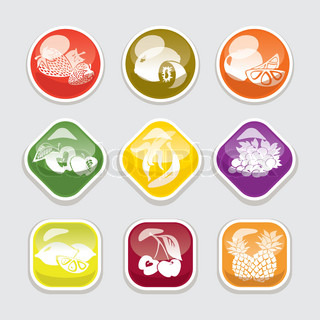 abstract fruit glossy buttons vector illustration