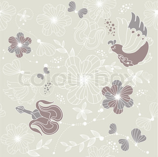 abstract seamless background with flowers and birds