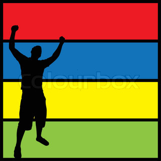 A silhouette of a man posing with his arms in the air over a colorful background