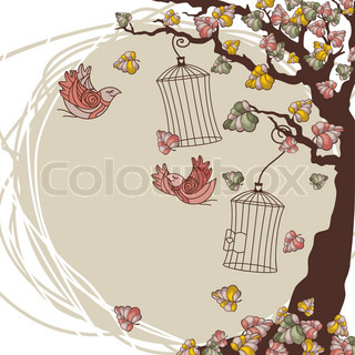vector autumn composition with tree and birds
