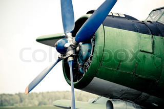 The propeller of old flying machine, close-up