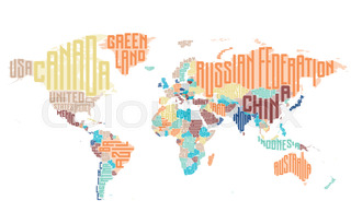 World map made of typographic country names vector illustration world map made of typographic country names gumiabroncs Image collections