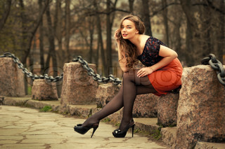 Portrait of russian woman outdoors
