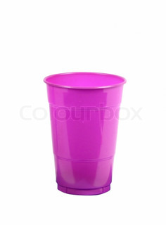 pink plastic glass isolated on white background