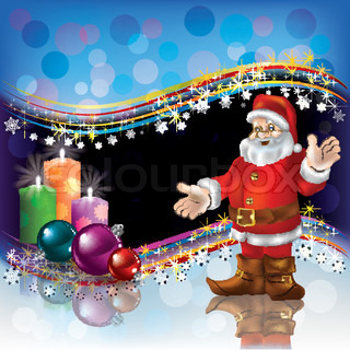 Abstract Christmas background with Santa decorations and candles