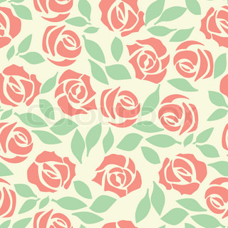 Vector rose seamless flower background pattern, floral fabric vintage wallpaper Cute backdrop