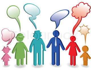 Community, people chat, family icon Person vector woman, old man, child, grandpa, grandfather, grandmother Generation character Communication illustration with speak bubble, speech balloon