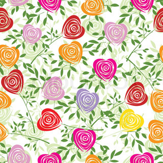 Multicoloured art vector heart, rose pattern Seamless flower background pattern Fabric texture Floral vintage design Pretty cute wallpaper Romantic cartoon feminine filigree tile