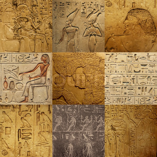 set of ancient Egyptian writing on stone