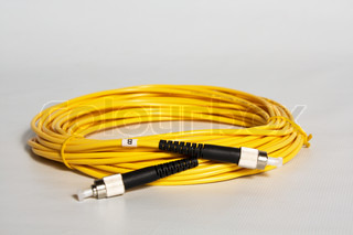 the fiber optic cable with black FC connectors