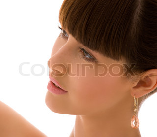 picture of lovely woman face over white