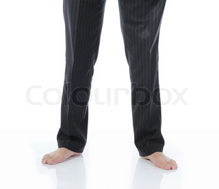 Bare feet businessman in a bright room Isolated on white background