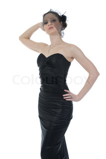 Young beautiful woman in a full-length in evening gown Isolated on white background