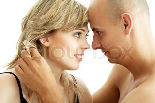 picture of couple in love over white background