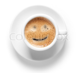 Coffee collection - Espresso Cup with smile Isolated on white background