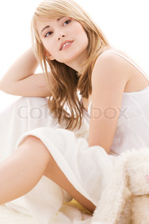 picture of beautiful teenage girl in bed