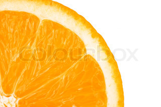 Macro food collection - Orange slice Isolated on white background