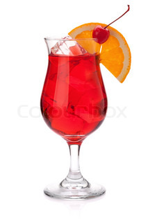 Red tropical cocktail Isolated on white background