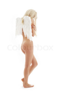 picture of naked angel over white background