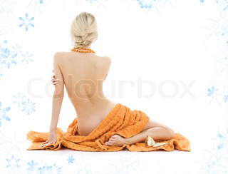 beautiful lady with orange towels and snowflakes
