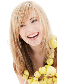 bright picture of lovely blonde with green apples