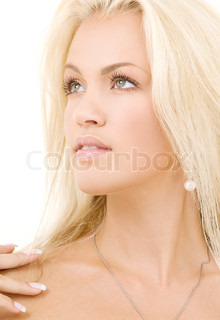 bright picture of lovely blonde over white