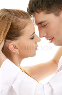 picture of couple in love over white (focus on man)