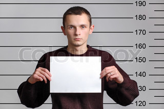 Criminal man with empty paper