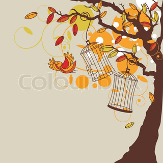 abstract autumn background with tree vector illustration