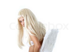 pretty blond with angel wings