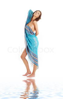 naked girl with blue sarong on white sand