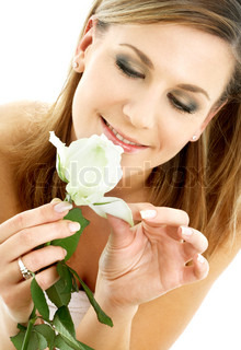 happy lady with white rose over white background