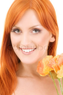 picture of redhead woman with flowers over white