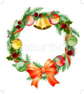 Christmas wreath with bells, bow and balls