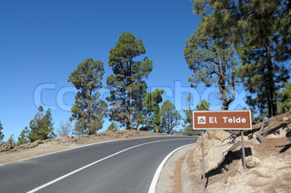 Mountain Road in El Teide National Park, Canary Island Tenerife, Spain