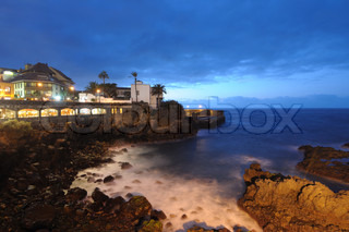 Puerto de la Cruz at night. Canary Island Tenerife, Spain