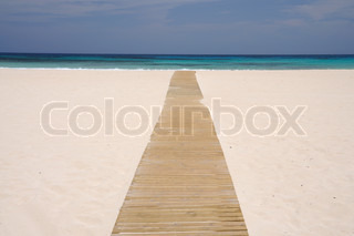 Wooden walk on the beach, Canary Island Fuerteventura, Spain