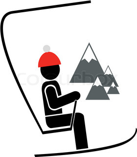 Man with ski on the chair lift at winter resort Isolated vector icon