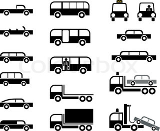 Different types of car body - stylized vector pictograms Cars, trucks, tow trucks and buses