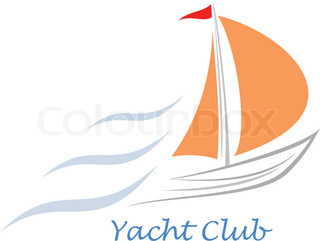 Stylized image of the floating boats with pink sails and red flag Can be used as logotype of yacht club, marine club, hotel, etc