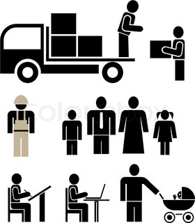 People of different professions - set of stylized vector pictograms