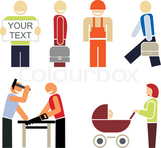 Set of colored vector icons - the people of different professions or occupations
