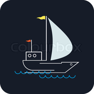 Yacht that sails on the waves Stylized image of the floating boats with blue sails, yellow and red flags Can be used as logotype of yacht club, marine club, hotel, etc